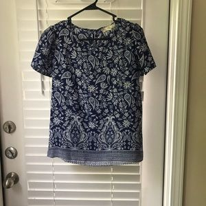 Tops - Navy and white paisley blouse